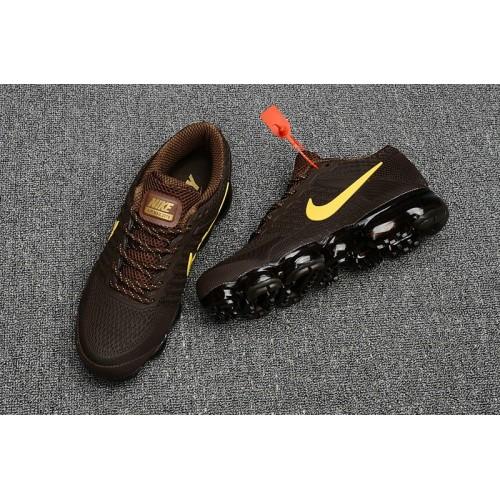 Men's 2018 New Nike Air VaporMax Flyknit Brown Yellow