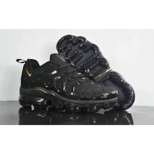 Men's 2019 Nike Air VaporMax Plus Triple Black Gold