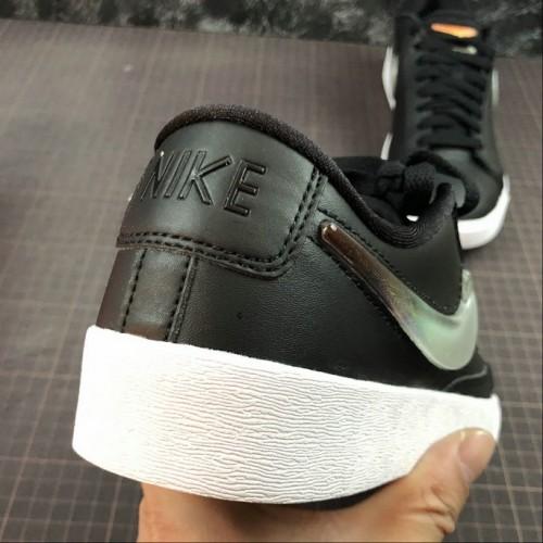 Men's 2019 Nike Blazer Low Premium Leather Swoosh Black White