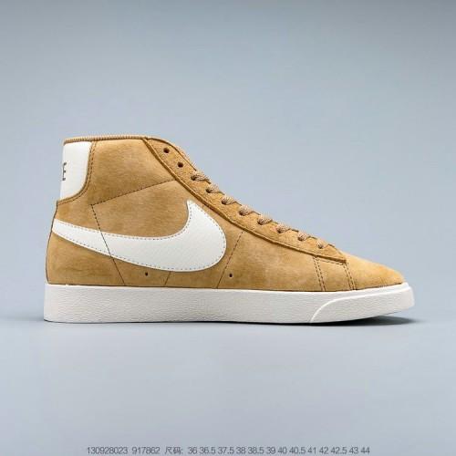 Men's 2019 Nike Blazer Mid VNTG Suede Vintage Wheat Brown Cream