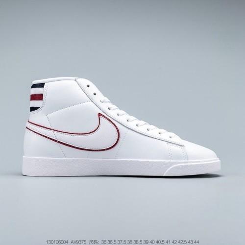 Men's 2019 Nike Blazer Mid White Blackened Blue Red Crush