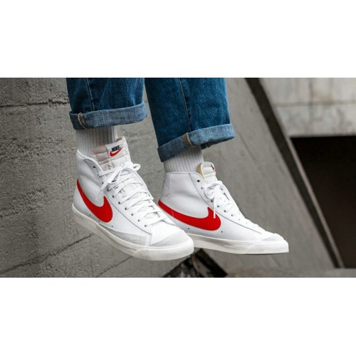 Men's Nike Blazer Mid 77 Vintage White Red BQ6806-600