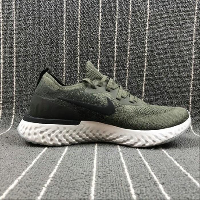 Men's Nike Epic React Flyknit AQ0067-300 CARGO KHAKI BLACK SEQUOIA