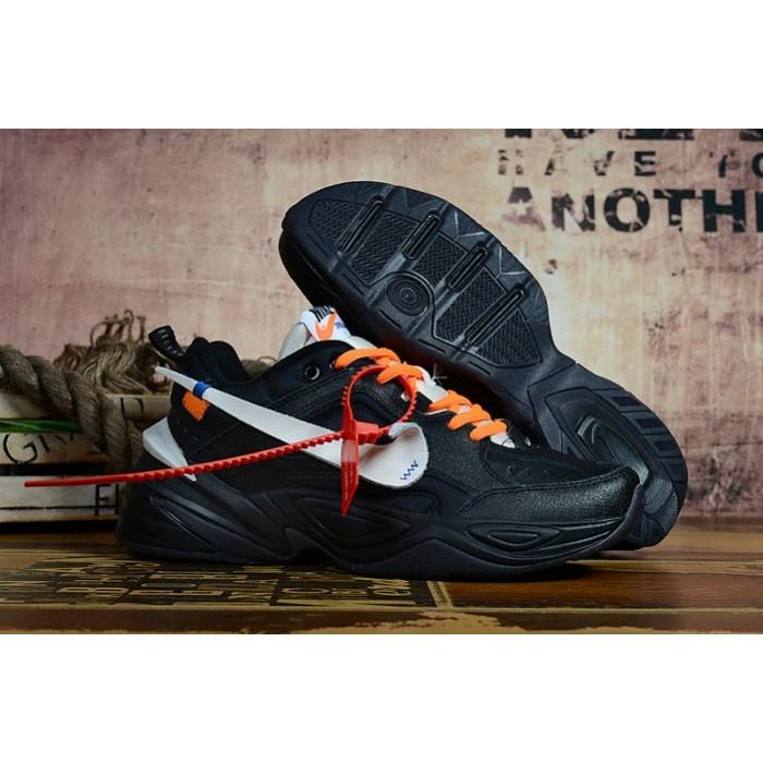 Men's 2019 Nike M2K Tekno x Off-White Black White Orange
