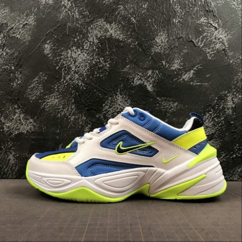 Men's Nike M2K Tekno White Royal Fluorescent Green Vert AQ3109-116