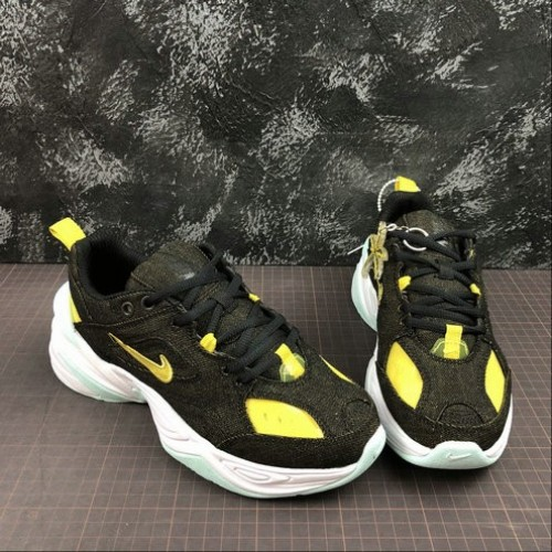 Women's 2019 Nike M2K Tekno LX Black Teal Tint White Bright Citron