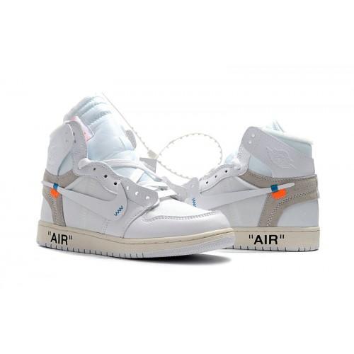 Men's 2018 New Nike Shoes Off-White Air Jordan 1 White Part 2 AQ0816-100
