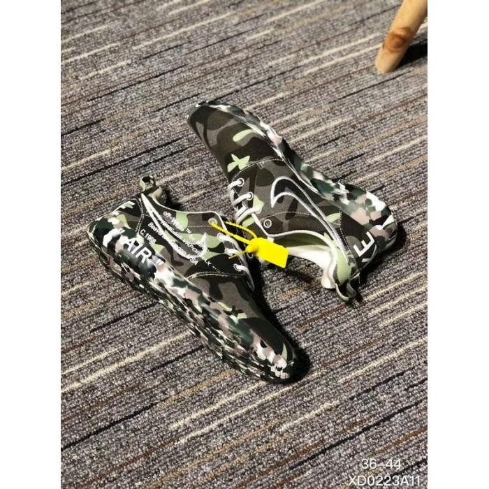 Men's 2018 New Nike Shoes Off White x Nike Roshe Run Print Army Green