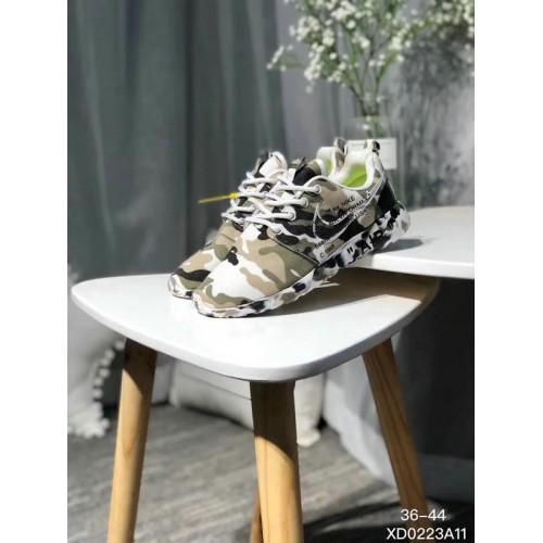 Men's 2018 New Nike Shoes Off White x Nike Roshe Run Print Cream