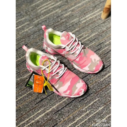 Men's 2018 New Nike Shoes Off White x Nike Roshe Run Print Pink Grey White
